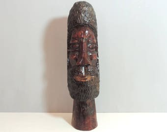 Vintage African Bust/ Vintage African Head/ African Man/Hand Carved Wooden African Man Head/African Man Head/Vintage Hand Carved Head
