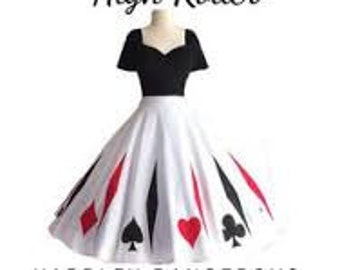 "Mid Calf Length 43"" High Roller Swing Dress by Hardley Dangerous Couture,  Custom Screenprinted Pin Up VLV Burlesque Dance Party Dress"