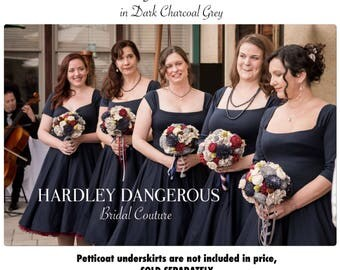 "Dark Charcoal GREY Bridesmaid Dresses,  Gray Vintage Inspired Wedding Party Dress handmade by Hardley Dangerous, 43"" Mid Calf Length"