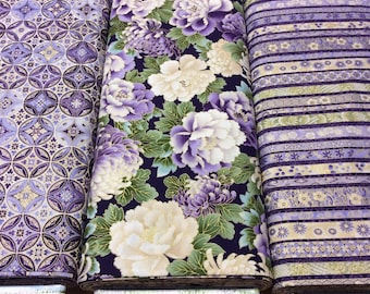 3 Fabric 'SPECIAL OFFER' Bundle Robert Kaufman - Japanese Print with Gold Metallic Tones Imperial Collection 8 Hyacinth