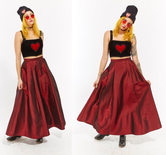 Vtg 90s GOTH Grunge Red Shiny Metallic MAXI A Line SKIRT Goddess Drape Vampire Club Kid Rave Minimal Avant Garde Holiday Xmas cocktail party