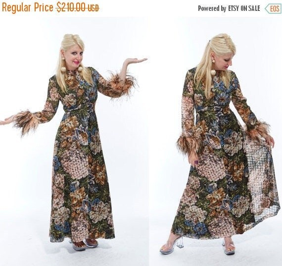 Vtg 60s OSTRICH FEATHER CUFFS Maxi Hostess Cocktail Party Dress Floral Lace Brocade Semi Sheer Mod Phyllis Diller Kitschy Retro Avant Garde