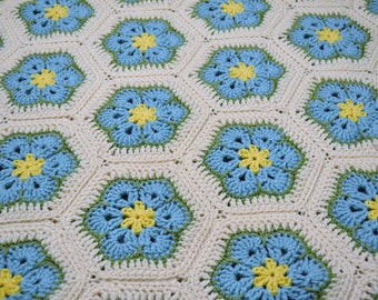 Crochet Afghan Blanket Aqua Turquoise Blue Yellow Green White African Flower Granny Square Handmade PanchosPorch