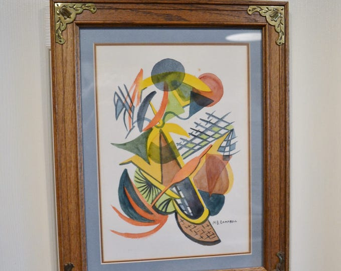 Vintage Watercolor Abstract Tropical Framed with Glass Signed M.S. Campbell PanchosPorch