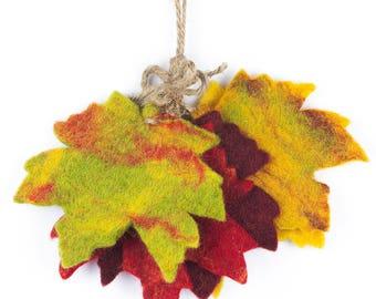 Autumnal Sprig - Felt Garland - Felted decorations - Autumn leaf decoration - Wedding Decoration - Halloween - Handmade