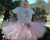 Pink Tutu,Pink and Gold 1st Birthday,Pink and Gold First Birthday,Pink and Gold First Birthday Outfit,Pink and Gold Tutu,1st Birthday Outfit