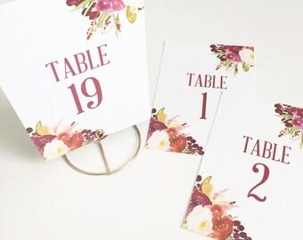 Printed Table Numbers   Floral Marsala Wedding