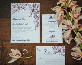Burgundy Floral Wedding Invitation Navy and Marsala Invite SAMPLE