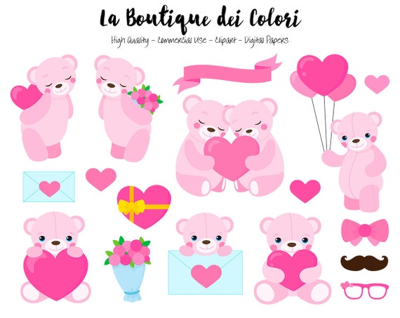 Pink Valentine's Day Teddy Bear Clipart, Cute Digital