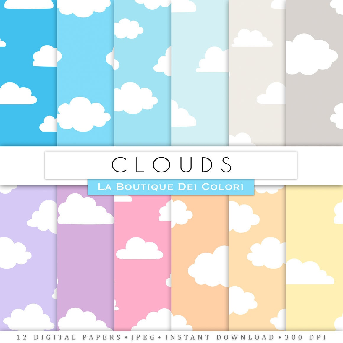 Scrapbook paper clouds - This Is A Digital File