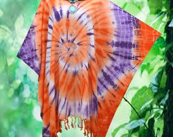 Tropical Retro Hand dyed Artwork Fringe Beach Cover Up Poncho Top