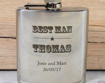 Personalised and Engraved Wedding Hip Flasks, Perfect Usher and Best Man Gifts  - Gift Box with Funnel Available