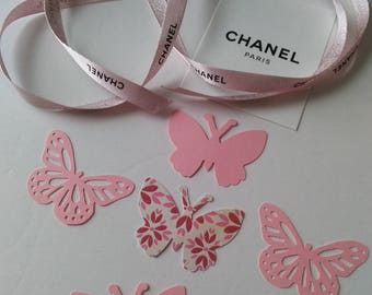 Authentic Pink Shimmer Chanel Ribbon and Butterfly Die Cuts