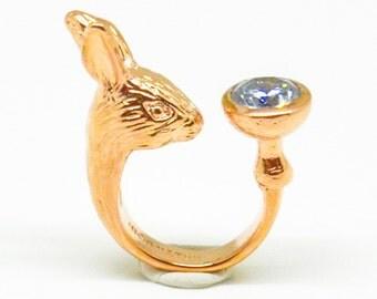 Rose Gold Glacier Rabbit Ring