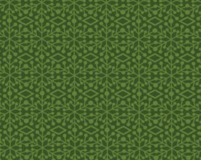 "30"" REMNANT Ho-Ho-Ho Let It Snow - Frosted Window in Winter Green - Christmas Cotton Fabric Line By Nancy Halvorsen for Benartex (W969)"