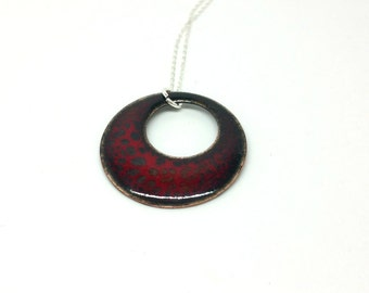 Red Round Necklace - Enamel Circle Pendant - Red Round Disc Necklace - Boho Jewellery - Copper and Enamel Necklace