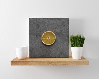 orange // food photography print // canvas print // kitchen wall art // dining room wall art // rustic wall art // citrus fruit