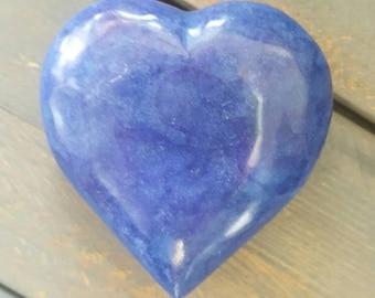 Heart Shaped Stone - Heart Shaped Rock - Dyed Blue Marble Heart- Rock Heart