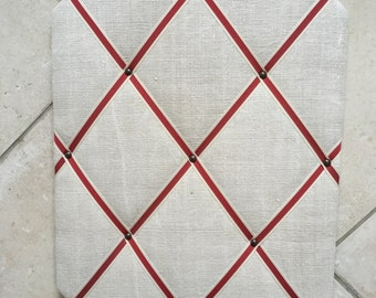 Cream Vintage Linen Fabric Red Ribbon Stripes Large Pinboard 51 x 41 cms 20 x 16 inches