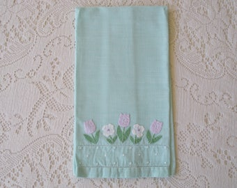 Vintage Green Tea Towel with Floral Appliqué
