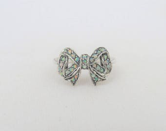 Vintage Sterling Silver White Opal Filigree Bow Ring Size 6