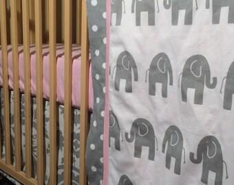Baby Girl Crib Bedding | Elephant Baby Bedding |Sheet Blanket Crib Skirt | Pink Grey Elephant | Pink Crib Sheet | Grey Floral Crib Skirt