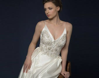 ALLETA / white silk satin wedding dress witn magnificent handmade embroidery, А silhouette bridal gown bodice corset with cups push-up