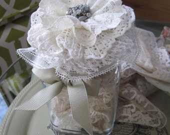 Lace-filled Jar - Vintage Lace Supply - Victorian Laces