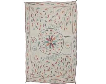 VINTAGE TEXTILE - Vintage Kantha with leaf motif border