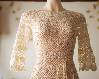 1960s crochet 3/4 dress / wedding dress / flared sleeves