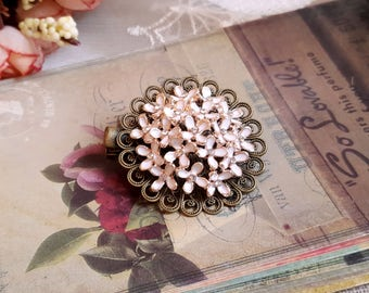 Victorian style hair accessory Flower cluster hair clip Enamel white cluster flower