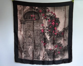 "Vintage Silk hand rolled Floral Scarf Ostuelli Roses 76cm x 75cm / 29.9"" x 29.5"""