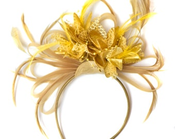 Champagne Gold Beige Camel and Yellow Gold Fascinator on Headband Alice Band UK Wedding Ascot Races Derby