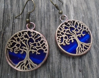 Tree Earrings - Blue Stained Glass Jewelry
