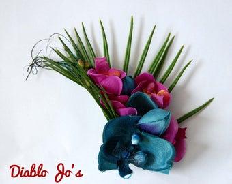Tropical Hawaiian Orchid clip, Hair flower, Pin Up, Tiki, Rockabilly, Vintage style