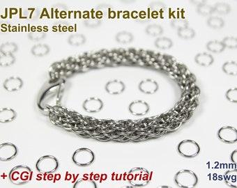 JPL7 Alternate Bracelet Kit, Chainmaille Kit, Stainless Steel, Chainmail Kit, Jump Rings, JPL7 Alternate Tutorial, Chainmaille Tutorial