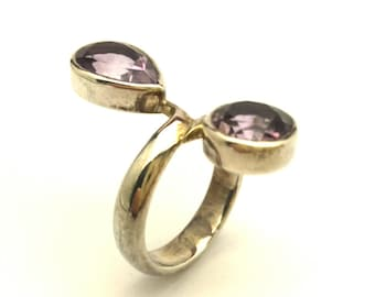 Amethyst Purple Transparent Faceted Two Stone Vintage 925 Sterling Silver Ring