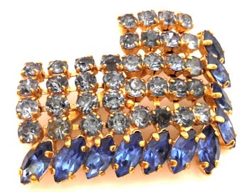 Vintage Sky Blue Iolite Two Tone Glass Faceted Stone Women Czech Brooch