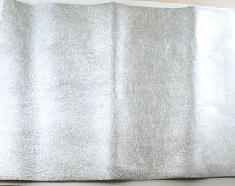 """Silver Leather - 8"""" X 10"""" Square Silver Split Leather - Metallic Silver Craft Leather - Cowhide leather - Genuine Leather - Leather Remnant"""