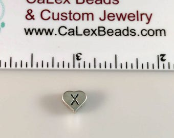 Clearance .925 Sterling Silver Alphabet Bead, Letter X Heart on Sale Close Out