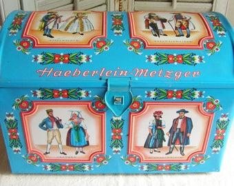 Vintage Colorful Haeberlein-Metzger German Blue Folk Art Metal Large Treasure Box Haeberlein-Metzger Biscuit Cookie Cracker Box Storage