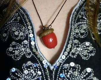 Red Acorn Charm Necklaces
