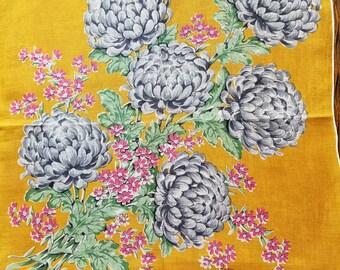 "Vintage 16"" sq Linen Handkerchief  #70"
