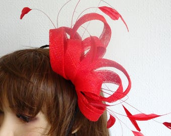 large red sinamay  and feathers fascinator made on black headband