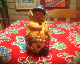 Vintage Peruvian terra cotta hand painted luminaries or candle holder figurine