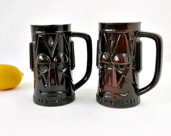Vintage Tiki Barware Mugs - Easter Island Moai Head Ceramic Cups - Set of 2 - Dark Brown Glaze Tropical Drink Handle