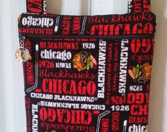 Chicago Blackhawks  - Cross Body -  Hipster Purse - Bag -  Handmade - Quilted - Adjustable Strap - Newly released Chicago Blackhawk Fabric