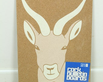 Vintage NEW Sealed Gazelle Cork Bulletin Board, 1970s Animal Hanging Bulletin Board
