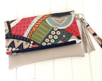 Clutch Purse,  Fold over Clutch, Clutch, Fold over Party Clutch, Handmade Clutch, Fabric and Vinyl Fold over clutch, Handmade Purse