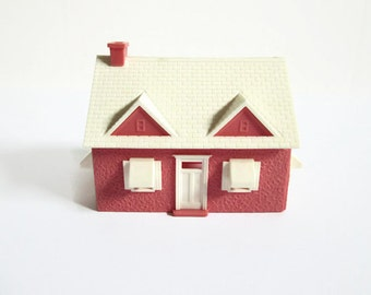 Vintage Model Train Building, Pink House; White Doors, Windows, Awnings, Miniature Toy